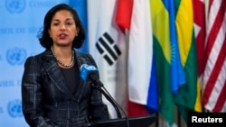 U.S. Ambassador to the United Nations Susan Rice speaks to the media at the U.N. headquarters in New York, Feb. 2013.