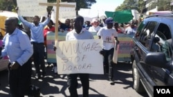 Protesters stage a peaceful demonstration under Prayer Network Zimbabwe in Harare.
