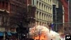 波士顿马拉松赛期间炸弹爆炸瞬间
