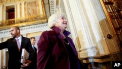 Federal Reserve Chair Janet Yellen departs a Financial Stability Oversight Council meeting at the Treasury Department in Washington, May 19, 2015.