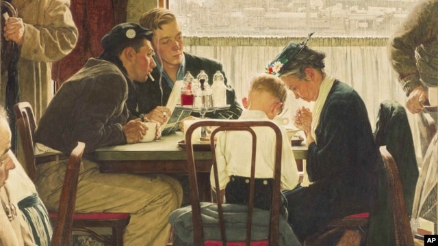 "This undated photo provided by Sotheby's shows the popular Norman Rockwell masterpiece ""Saying Grace,"" which is heading for the auction block."