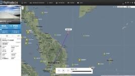 Hình chụp từ trang mạng flightradar24.com cho thấy vị trí báo cáo cuối cùng của chuyến bay MH370, 7/3/2014