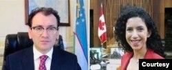 O'zbekistonning AQSh va Kanadadagi elchisi Javlon Vahobov va Kanada parlamenti a'zosi Reychel Bendayan onlayn muloqotda