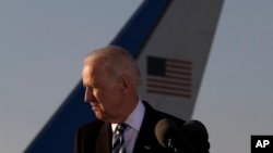 Vice President Joe Biden after arriving in Larnaca international airport, Cyprus, May 21, 2014.