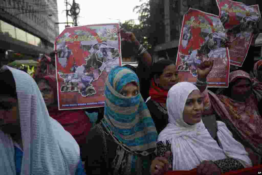 تظاهرات بزرگداشت روز جهانی زن در کراچی، پاکستان.
