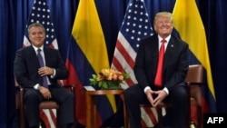 La última vez que el presidente de EE.UU, Donald Trump, derecha, y su homólogo colombiano, Iván Duque se encontraron fue en el marco de la Asamblea General de las Naciones Unidas, en septiembre del año pasado.