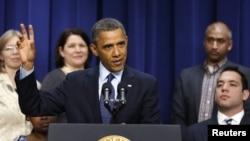 Барак Обама на выступлении в Белом Доме. Вашингтон, округ Колумбия. 31 декабря 2012 года