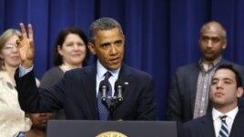 Le président Obama s'exprimant au  sujet des négociations budgétaires