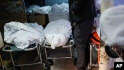 2일 미국 뉴욕주 브룩클린의 한 장의사에서 신종 코로나바이러스 감염 사망자들의 시신이 놓여있다.
