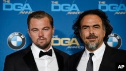 "Leonardo DiCaprio, left, star of ""The Revenant,"" poses backstage with the film's director Alejandro Gonzalez Inarritu at the 68th Directors Guild of America Awards at the Hyatt Regency Century Plaza in Los Angeles, Feb. 6, 2016."
