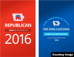 The Microsoft Iowa caucuses reporting apps, as run by the Iowa Democratic Party (IDP) and the Republican Party of Iowa (RPI). (Microsoft)