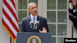 2015年4月2日美國總統奧巴馬在白宮就伊朗核問題發表講話。