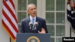 Barack Obama s'exprimant depuis les jardins de la Maison-Blanche, 2 avril 2015.
