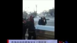 青海省共和县恰卜恰镇大批藏族学生上街示威