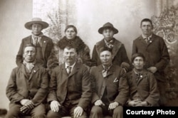 Paul Holytrack (top row, second from right) and Phillip Ireland (bottom row, far right), suspects in the February 1897 murder of a white settler family in Emmons County, N.D. Holytrack, Ireland and Alex Cadotte (not pictured) were lynched by townspeople i