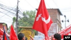 Ủng hộ viên Maoist trên đường phố thủ đô Kathmandu