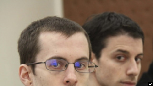 Jailed US hikers Shane Bauer and Josh Fattal (file photo)