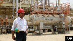 An Iranian worker at the South Pars gas field in the southern Iranian port town of Asaluyeh.