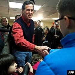 Rik Santorum saylovchilar bilan