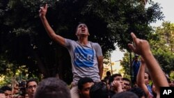 Egyptians demonstrate against President Abdel-Fattah el-Sissi in Mesaha square in Cairo's Dokki district, Monday, April 25, 2016.
