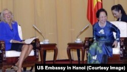 Dr. Jill Biden met with Vietnamese Vice President Nguyen Thi Doan on Sunday, July 19, to discuss women's issues and Vietnam's higher education system.
