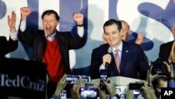 Ứng cử viên Đảng Cộng hòa Ted Cruz phát biểu sau khi được tuyên bố giành chiến thắng trong hội nghị đầu phiếu ở thành phố Des Moines, bang Iowa, ngày 1 tháng 2, 2016.