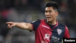 북한 출신 한광성 선수가 지난해 2월 칼리아리 소속으로 이탈리아 프로축구 세리에 A 경기에 출전했다.