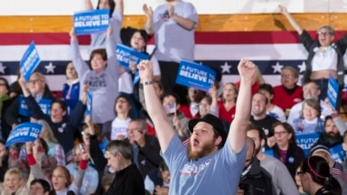 Supporter cheer after Democratic presidential candidate Sen. Bernie Sanders, I-Vt., is announced the winner of the New Hampshire primary during a watch party at Concord High School in Concord, New Hampshire, Feb. 9, 2016.