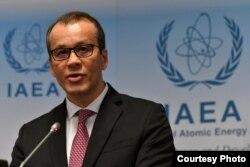 코넬 페루타 국제원자력기구(IAEA) 사무총장 대행이 21일 오스트리아 빈의 IAEA본부에서 기자회견을 했다. Dean Calma / IAEA.
