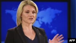 Juru bicara Departemen Luar Negeri Amerika, Heather Nauert berbicara kepada media di Washington DC (foto: dok).