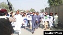 بنوں میں مبینہ اغواء کے خلاف مظاہرے کا ایک منظر