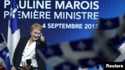 加拿大魁北克人黨領袖寶蓮.馬魯瓦發表勝利演講