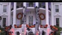 白宫挂上鬼节装饰 南瓜暂时取代政治