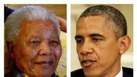 Nelson Mandela on Aug. 8, 2012, left, and President Barack Obama, May 2013 file photo.