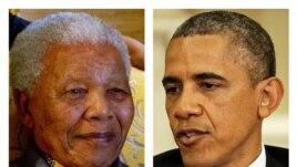 Nelson Mandela on Aug. 8, 2012, left, and President Barack Obama, May 2013 file photo.