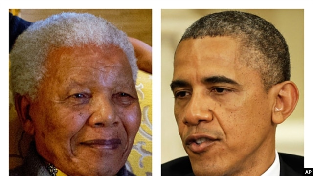 This two-picture combination of file photos shows Nelson Mandela on Aug. 8, 2012 (l) and President Barack Obama on May 31, 2013.
