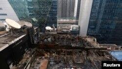 آتش زدگی سے تباہ ہونے والے ریستوران کا ایک منظر