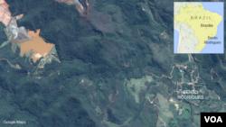 Bendungan berisi lumpur dan limbah tambang (kiri atas) pecah dan membanjiri kota Bento Rodriquez di Brazil (foto: Google Map).