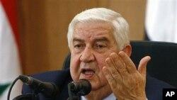 기자회견장에서 아랍연맹의 중재안을 비난하는 왈리드 알 모알렘 시리아 외무장관