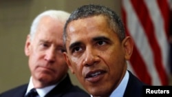 U.S. President Barack Obama speaks during a meeting with members of the Presidential Commission on Election Administration at the White House in Washington, Jan. 22, 2014.