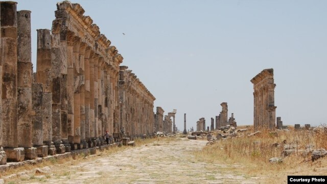 Mile-long remnants of Syria's colonnade of Roman city of Apamea, photographed before war began. The site was reportedly shelled and occupied recently by Syrian government tanks. (Christian Sahner)