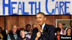 지난 6일 오바마 대통령이 미국 텍사스에서 새 건강보험 '오바마 케어'에 대해 연설하고 있다. (자료사진)