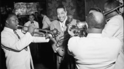 Duke Ellington and some of his musical friends at the Aquarium in New York, 1946