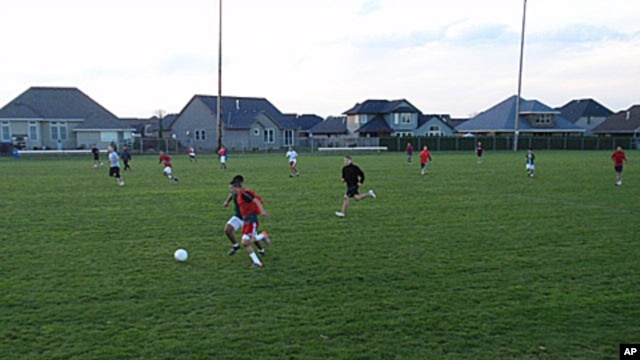 The Woodburn High School boys soccer team practices for an upcoming playoff game.