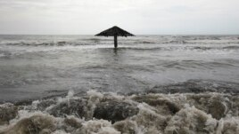 Waves are seen crashing ashore at Mayangan village in Subang in Indonesia's West Java province (file photo).