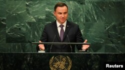 FILE - Polish President Andrzej Duda addresses the U.N. in New York, Sept. 20, 2016. On Dec. 14, 2016, Duda was asked by human rights groups to veto a freedom of assembly bill.