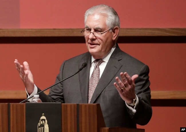 U.S. Secretary of State Rex Tillerson speaks to the Hoover Institution at Stanford University in Stanford, Calif., Jan. 17, 2018.