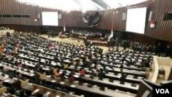 Presiden Susilo Bambang Yudhoyono menyampaikan pidato kenegaraan untuk terakhir kali jelang akhir kekuasaannya di gedung MPR, DPR, DPD RI, Jakarta. (VOA/Andylala)