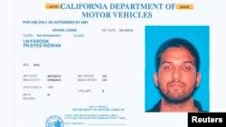 Surat ijin mengemudi pelaku penembakan massal di California, Syed Rizwan Farook (foto: dok).