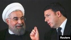 دیدار حسن روحانی رئیس جمهوری ایران (چپ) با ماتئو رنزی نخست وزیر ایتالیا در رم - ۲۵ ژانویه ۲۰۱۶
